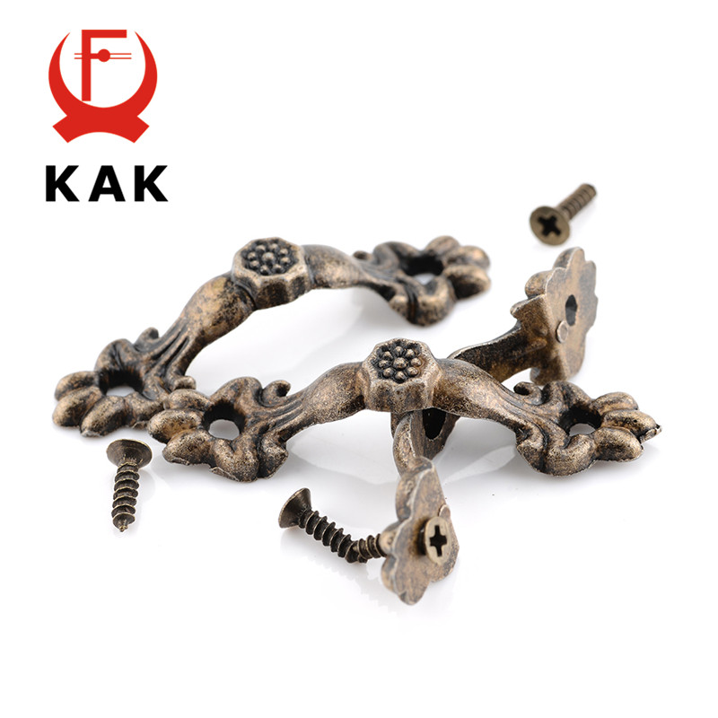 KAK 10pcs Box Handle 43*10MM Zinc Alloy Knobs Arch Tracery Bronze Tone For Drawer Wooden Jewelry Box Furniture Pull Hardware ned 30pcs classical bronze tone pattern drawer cabinet desk door jewelry box pulls handle knobs with furniture hardware