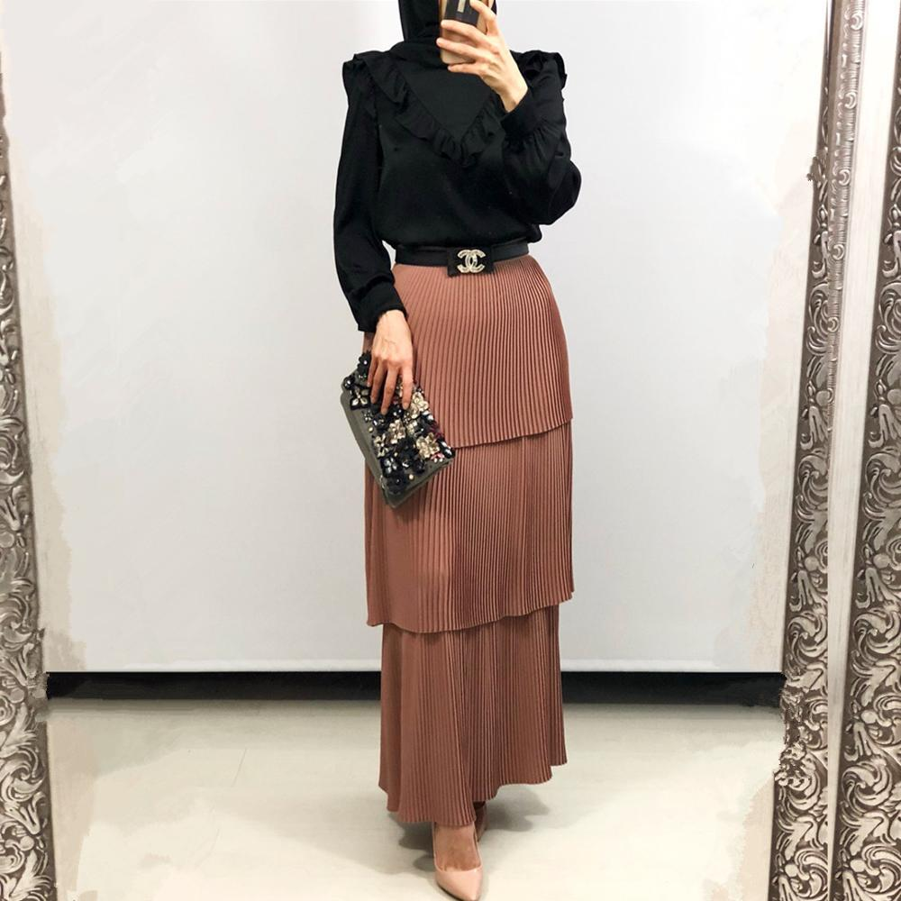Fashion Women's Pleated Tulle Skirt High Waist Bodycon Long Women's Modest Muslim Bottoms Long Midi Skirts Party Ramadan Islamic
