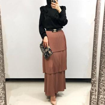 Women's Pleated Tulle Skirt High  Long Women's Modest Muslim Bottoms Long Midi Skirts Party Islamic