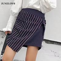 JuneLove 2018 Spring Women Casual Striped Mini Skirts Patchwork Skirts High Waist Ring Short Skirt
