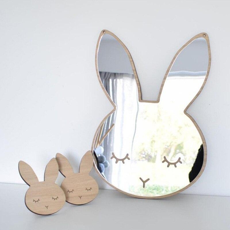 INS mural enfants dessin animé décoratif miroir bébé chambre lapin nœud mural miroir cadre créatif décoration de la maison cadeaux