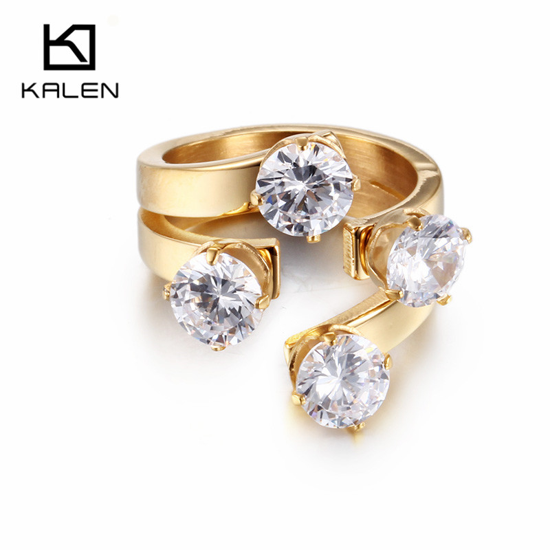 Kalen High Quality Women Wedding Rings Rhinestone & Stainless Steel Gold Color Unique Engagement Rings Bands Girls Party Gifts