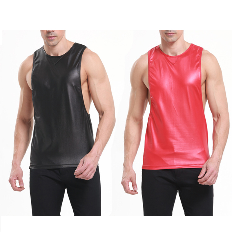 Summer 2018 New Black/Red Faux Leather Man Sexy Fitness Bodybuilding Tank Tops Gay Funny Singlets Undershirt Vest Nylon S M L