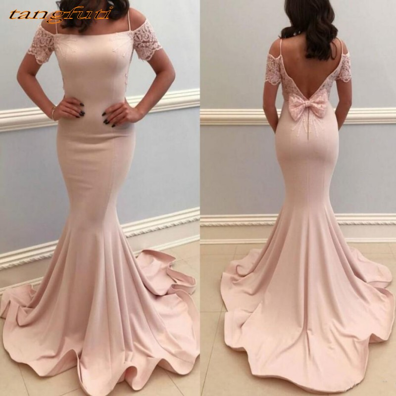 Blush   Evening     Dresses   Long Party Mermaid Women Formal   Evening   Prom Gowns   Dress   Wear Backless Cheap On Sale abendkleider 2018