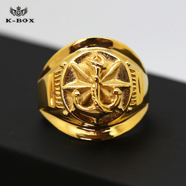 Big Boat Sea Anchor Men's 24K Gold Plated Mens Navy Oval Fancy Band Rings US Size 7-12 Hip Hop Religious Ring K-Box