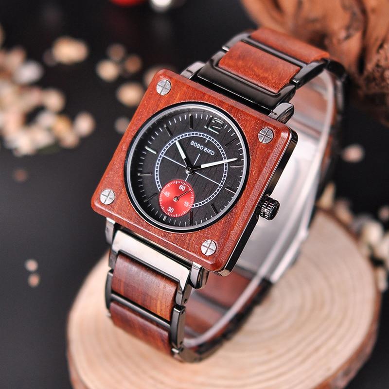 BOBO BIRD 2019 Square Design Unisex Wooden Watches 14