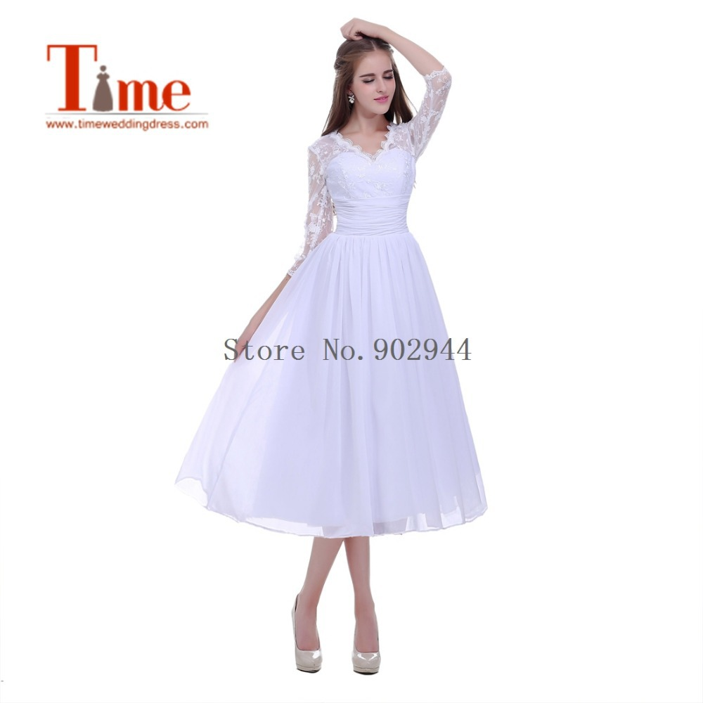 2015 v neck tea length three quarter sleeves short wedding for Wedding dresses with three quarter length sleeves