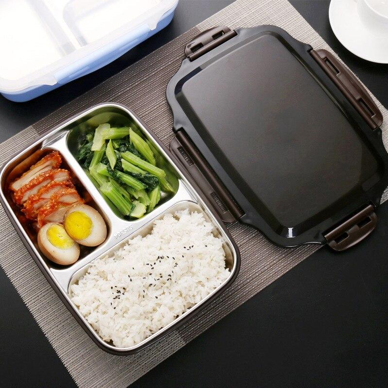 MICCK caja de almuerzo portátil de acero inoxidable caja de Bento microondas recipientes de comida con compartimentos agua hirviendo de aislamiento