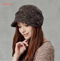 Kenmont Autumn Winter Women Lady Girl Wool Warm Fashion Beret Hat Outdoor Knitted Woolen Cap 2356
