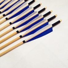 Russian buyer can buy 12PK Archery Blue&White Turkey Feathers Wooden Arrows Target Practice Field Tips