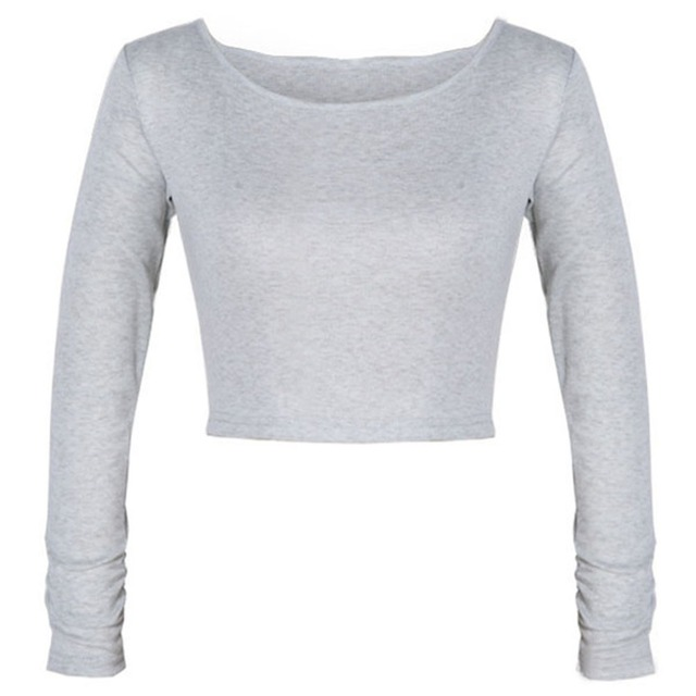Sexy Women Cut-Out Crooped  Solid  Long Sleeve T-shirt Clubwear Cropped Tops nz17