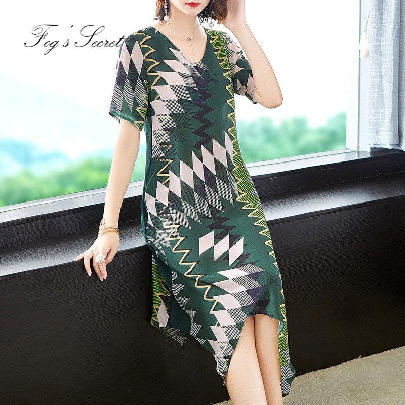 Grande taille femmes vraie robe en soie décontracté une ligne robes d'impression avec poche latérale pour femme 2019 nouveau Design