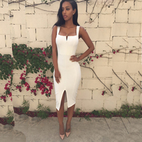 2018 New Women Sexy Spaghetti Strap Bandage Dress Mini Club Evening Party Dresses White Ladies Clothes Vestidos