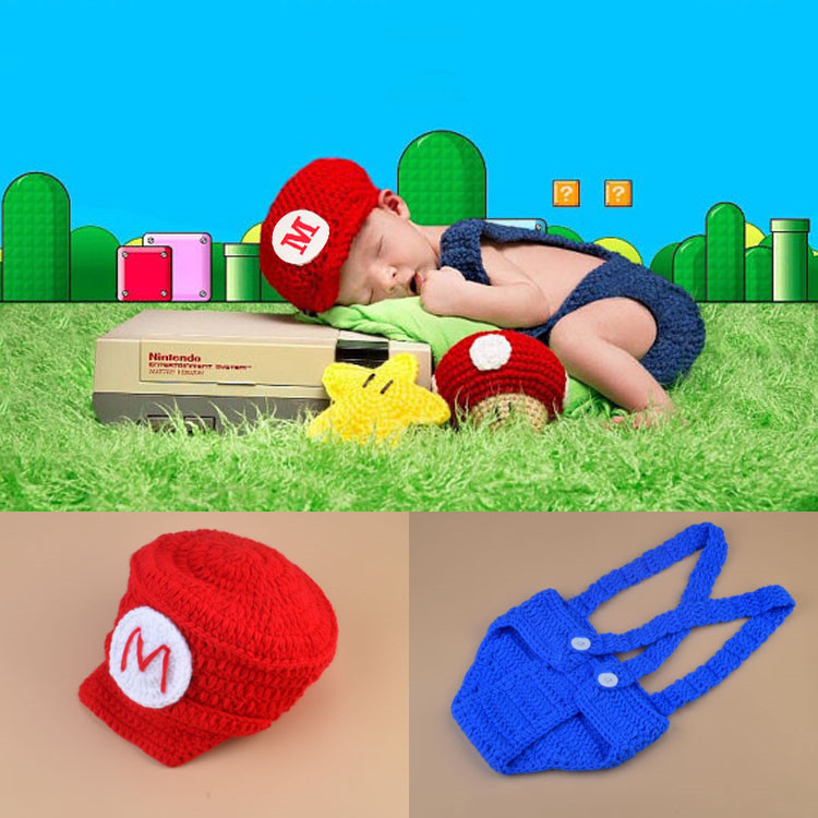 Mario and Louis Baby Boys Photography Props Crochet Mario Bros photo prop Newborn Photo Outfits Cartoon Costume Newborn Outfit cute dinosaur baby boys crochet photo props animal costume knitted infant baby coming home outfits newborn photography props