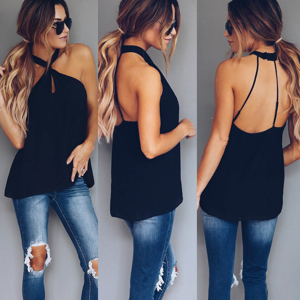 Sexy Backless Tank Top Women Blouse 2018 Summer Korean Fashion Halter Sleeveless Ladies Shirt Casual Solid Loose Vest Tee Tops