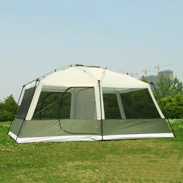 Waterproof Tent for 6 8 10 12 person 2 bedrooms 1 living room sun shelter party family hiking beach fishing outdoor camping tent octagonal outdoor camping tent large space family tent 5 8 persons waterproof awning shelter beach party tent double door tents