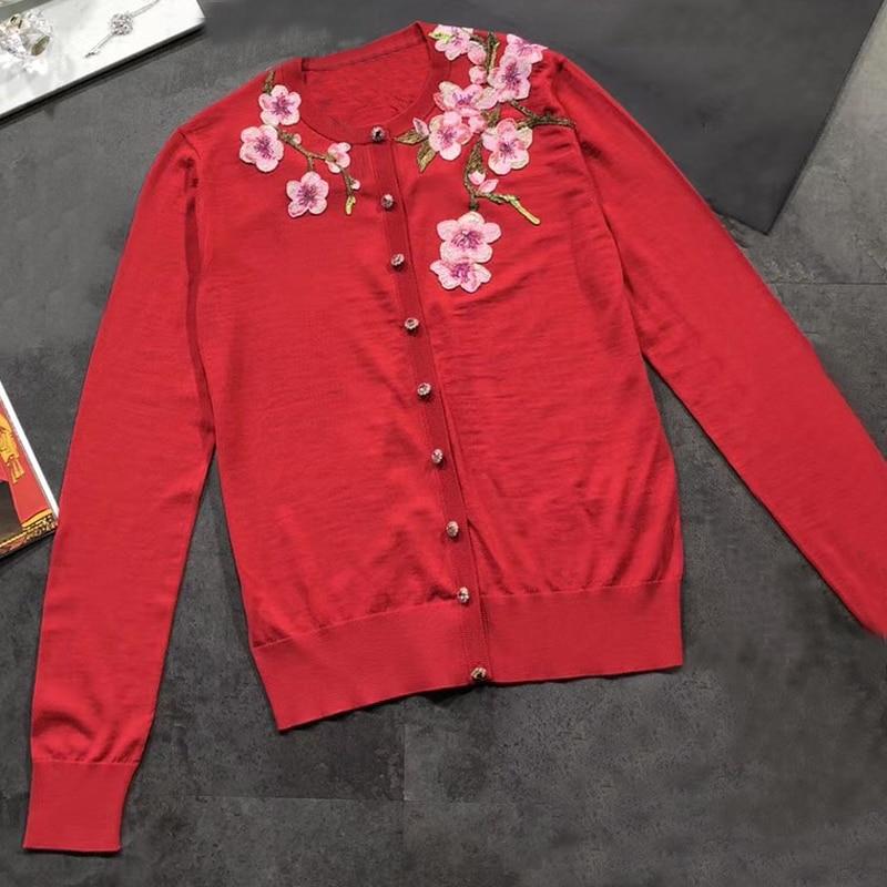 spring red cardigan women 2018 long sleeve cardigan women embroidery sweater fashion