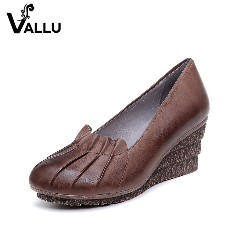 High Heels Platform Shoes Woman 2018 Women Pumps Genuine Leather Round Toes Vintage Handmade Women Wedge Shoes