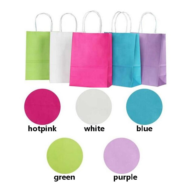 10pcs/lot Solid Color Gift Paper Bags 21X15X8cm With Handle Shopping Christmas Wedding Party Gift Packing Bag Excellent Quality