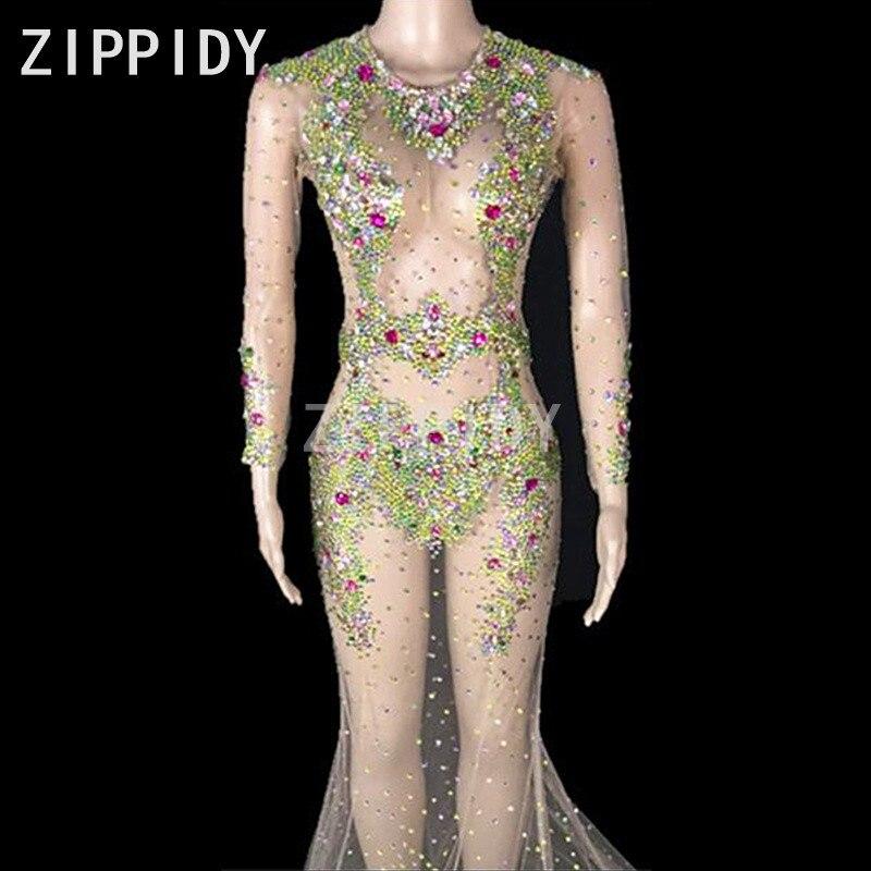 Coloré Bling cristaux Perspective robe grande queue pierre porter femmes anniversaire célébrer femme chanteuse Sexy mode longues robes