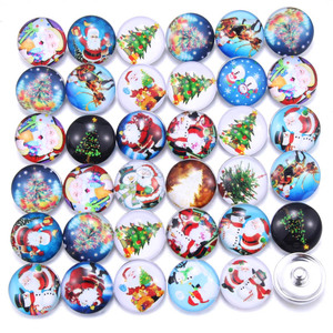 10 PCS / lot Mixed Christmas Snowman Pattern Glass 18mm Snap Buttons For Snap DIY Making Bracleets Bangles DIY Gift 031117