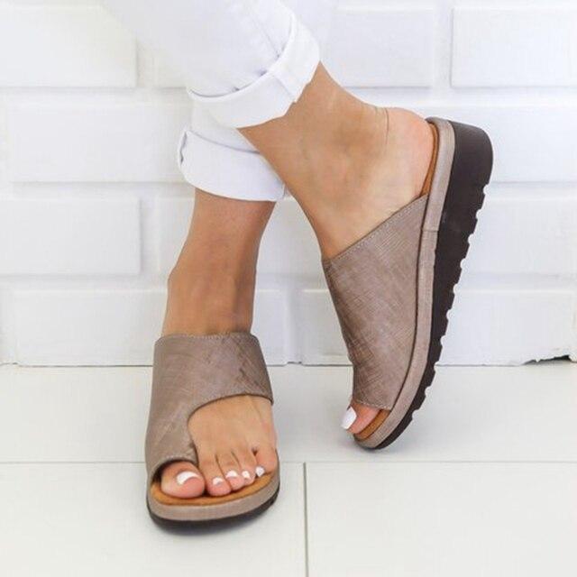 Женская обувь из искусственной кожи на плоской подошве, повседневные мягкие сандалии для коррекции стопы с большим носком, ортопедический корректор, новинка 2019