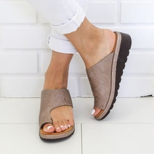 New 2019 Womens Shoes PU Leather Flat Sole Ladies Casual Soft Big Toe Foot Correction Sandal Orthopedic Bunion Corrector