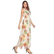 فستان طويل من الشيفون بطباعة الأزهار و حزام في العنق