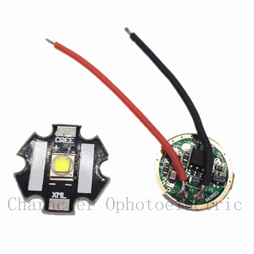 1set CREE Xlamp XML2 XM-L2 <font><b>10W</b></font> WHITE High Power <font><b>LED</b></font> Emitter on <font><b>20mm</b></font> star pcb +<font><b>driver</b></font> For Flashlight DIY image