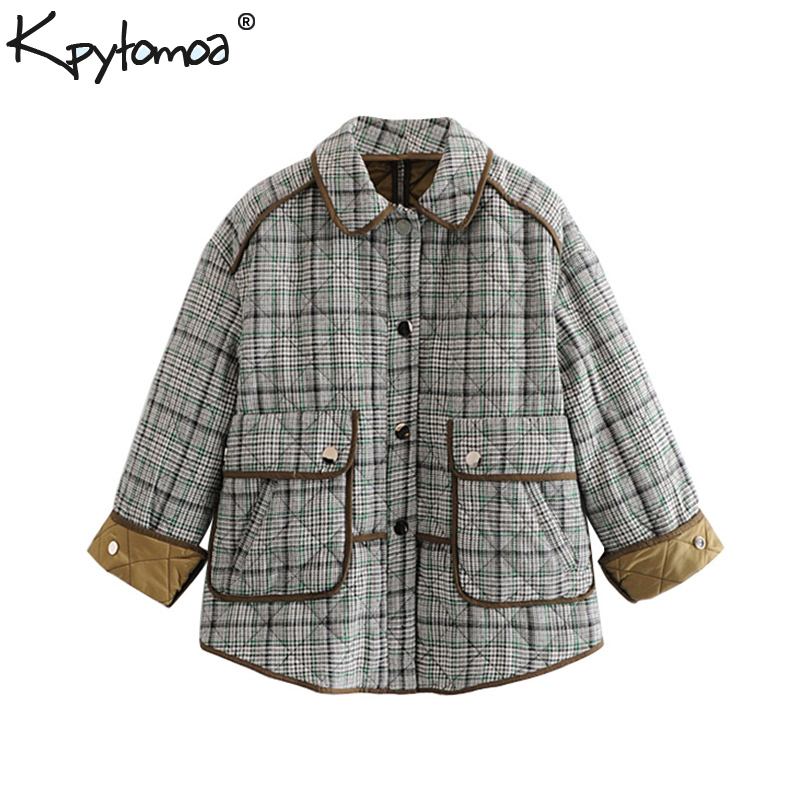 Vintage Chic Pockets Buttons Plaid   Parkas   Coat Women 2018 Fashion Shirt Collar Long Cuffed Sleeves Outerwear Casual Casaco Femme