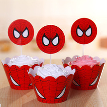 12 wrap+12 Topper Spiderman Party Supplies Cupcake Wrappers Toppers Superhero Baby Shower Kids Birthday Decoration