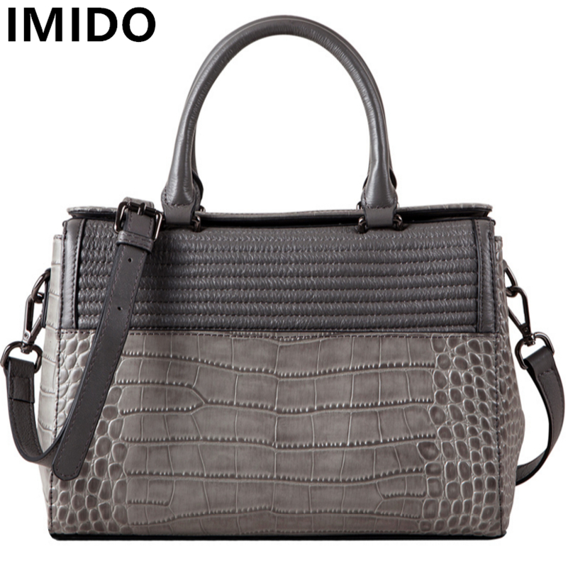 IMIDO Fashion Genuine Leather Women Handbags Cow Leather Alligator Women's Messenger Bags Solid Color Totes Casual Crossbody Bag
