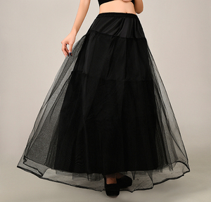 Image 4 - 2018 New Petticoat Long Tulle Skirts  Three Layers Womens  Underskirt For Wedding Dress White/Black