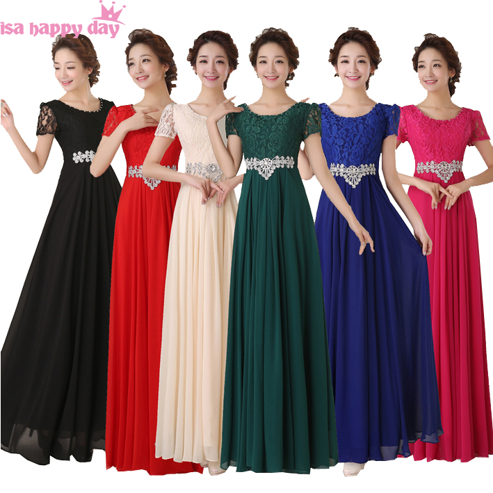 US $45.22 5% OFF|vestido formal bride maid full figure bridesmaid party red  dresses plus size royal blue lace chiffon dress long gown B2778-in ...