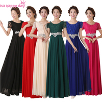 vestido formal bride maid full figure bridesmaid party red dresses plus size royal blue lace chiffon dress long gown B2778