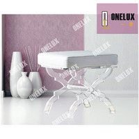 ONE LUX Acrylic X Base Stool Linen seat,Lucite X leg vanity stool/ ottomans / bench with cushion