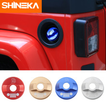 SHINEKA Tank Covers Aluminum Alloy Car Gas Inner Fuel Tank Cap Decorative Cover Stickers For Jeep Wrangler JL 2018+ Car Styling shineka zinc alloy abs base fuel tank cover gas cap cover oil filler 2 4 door for jeep wrangler jk 2007 2016
