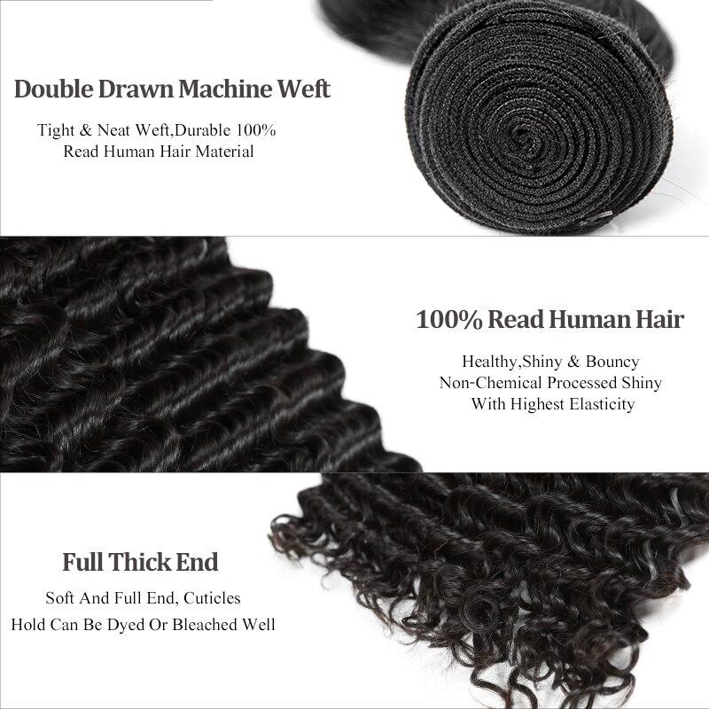 Ali reine cheveux produits vierge cheveux péruvienne vague profonde en gros 10 pièces Lot cheveux humains paquets 12-32 pouces livraison gratuite - 2
