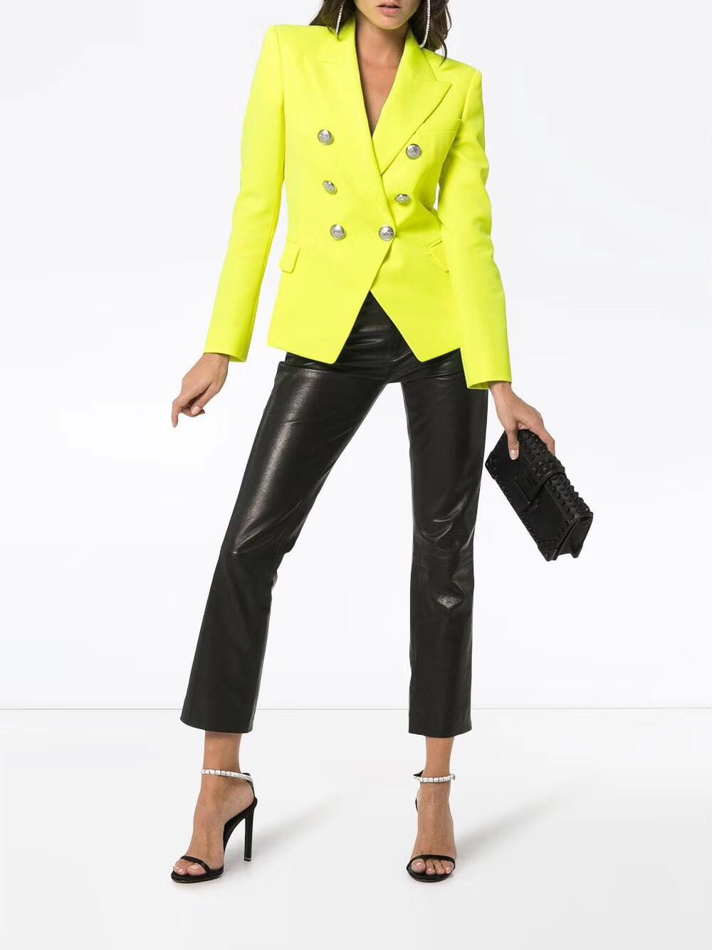 WISHBOP TOP QUALITY Lemon Yellow Solid Color Double Breasted Blazer For Woman 2019ss Limited Color