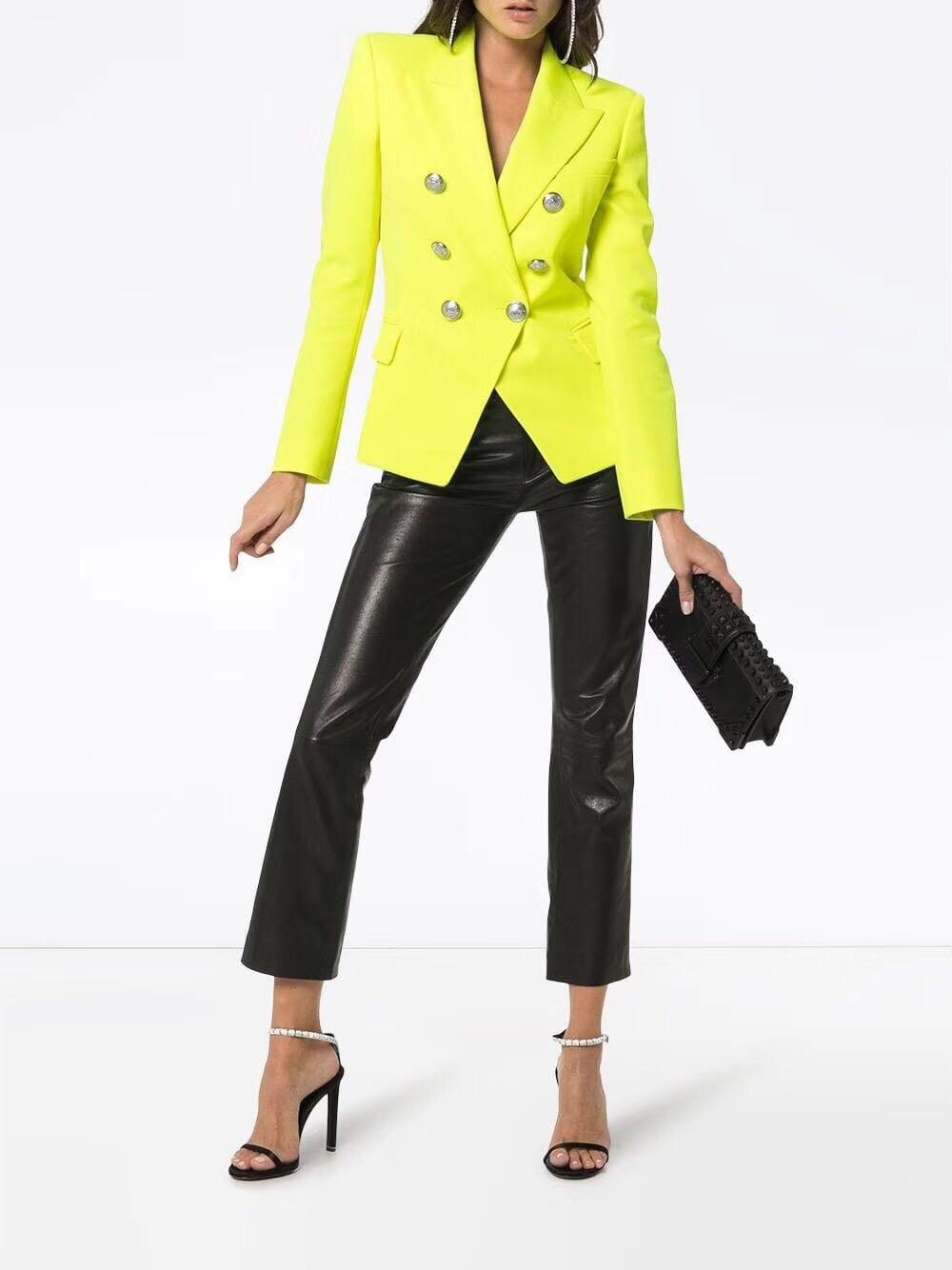 WISHBOP TOP QUALITÄT!!!! Zitrone Gelb Einfarbig Zweireiher Blazer Für Frau 2019ss Begrenzte Farbe AAA KLASSE-in Blazer aus Damenbekleidung bei  Gruppe 1