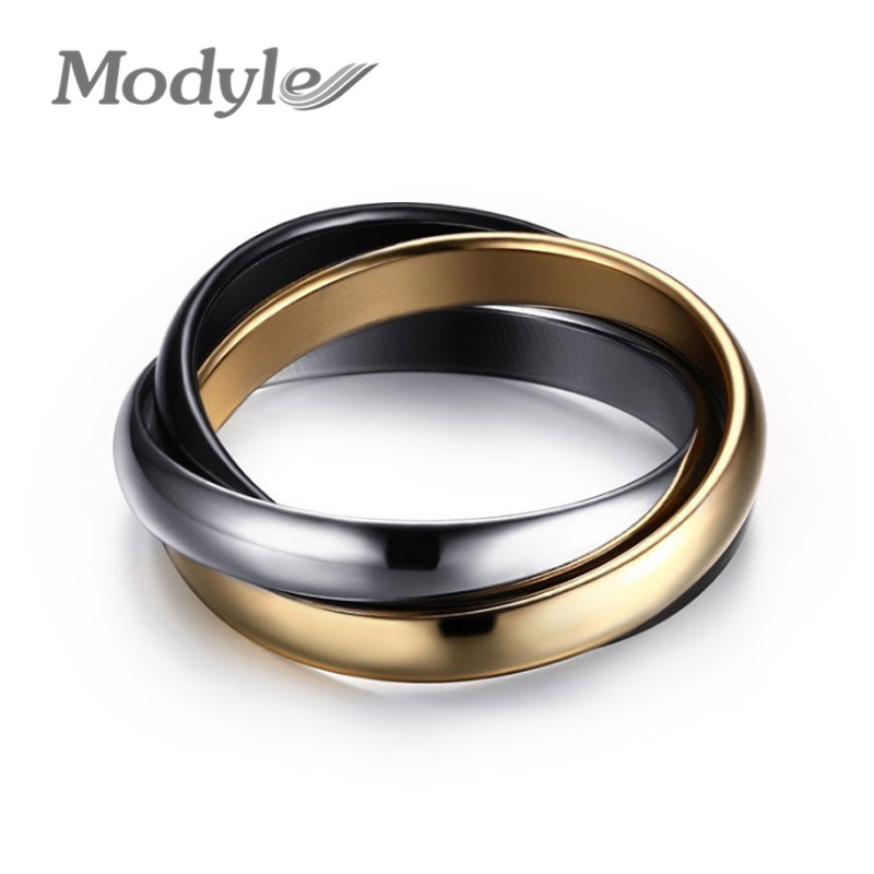 modyle classic 3 rounds ring sets for women stainless steel wedding engagement female finger jewelry - Plastic Wedding Rings