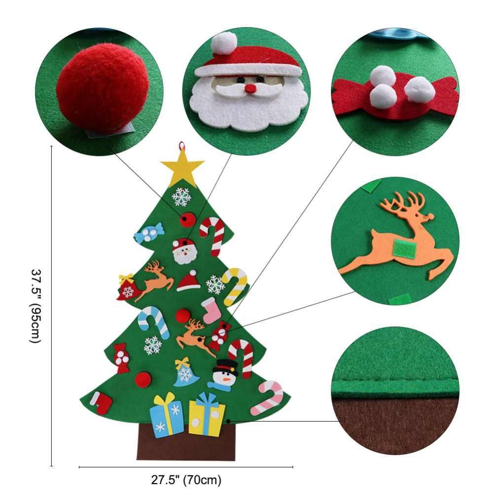 Ourwarm diy sentiu árvore de natal presentes ano novo crianças brinquedos artificial árvore parede pendurado ornamentos decoração de natal para casa