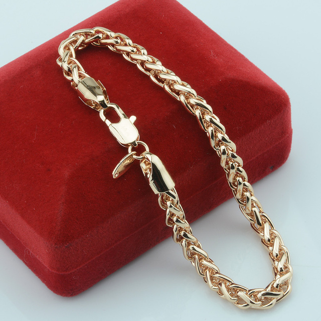 5mm Women Mens 585 Gold Jewelry Plated Link Wheat Chains Bracelets