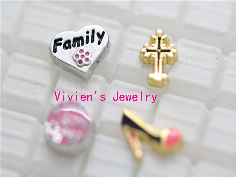 2014 new assorted floating charms 4 desings and 20 pcs /design 80pcs/lot no glass living locket Xmas gift