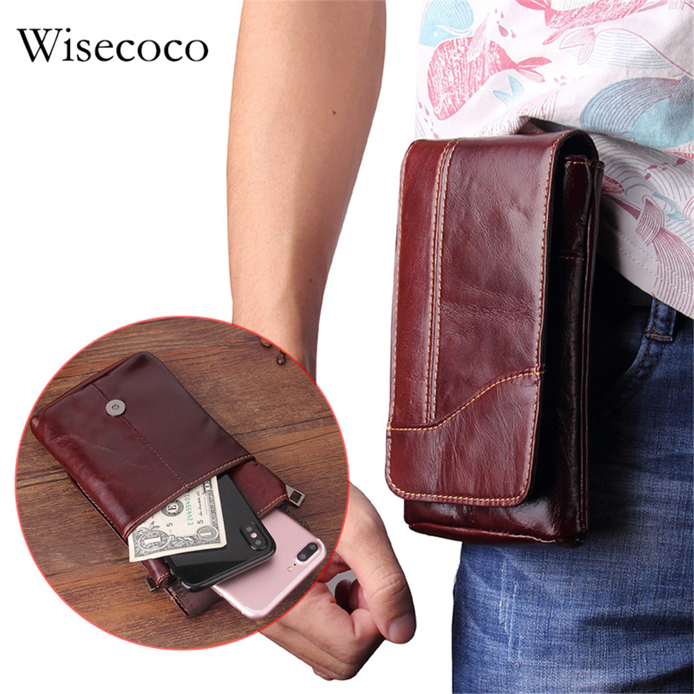 6.3 Inch Universal Brown Leather Wallet Bag for iPhone 8plus Luxury Genuine Mens Waist Belt Pack S9 S8 Phone Purse Case Lanyard