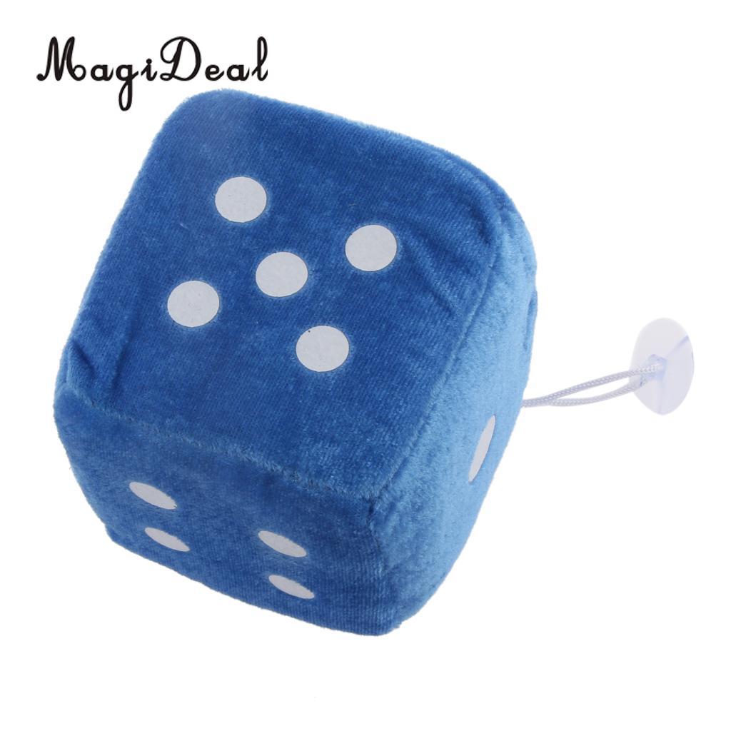 4 дюйма Мягкие плюшевые игрушки для игры в кости куб окна автомобиля зеркало вешалка липкая Декор День рождения подарки Сувенирные игрушки подарок 10x10x10 - Цвет: Blue