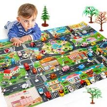 Увеличенный игрушечный автомобиль, водонепроницаемый игровой коврик 130*100 см, моделирующие игрушки, город, дорога, карта парковки, игровой коврик, портативные напольные игры