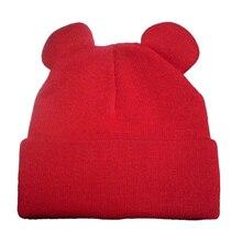 Осень Шляпы 6 Цветов Новая Мода Зима женская кошачьи Уши шляпа Трикотажные Мех Теплый Женщина Шапки Шапочки Skullies Повседневная Bonnet Gorros