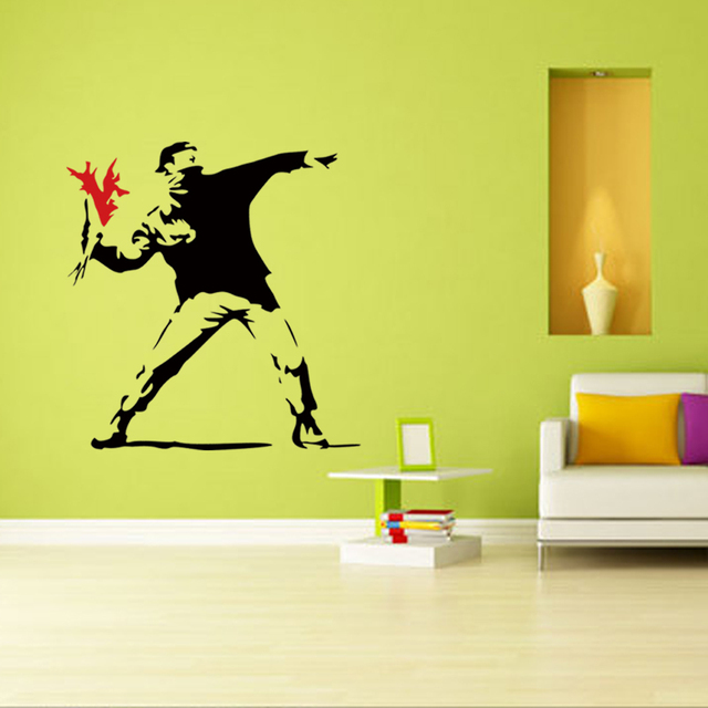 Banksy Inspired Torch Thrower Vinyl Wall Decal Wall Sticker Mural ...