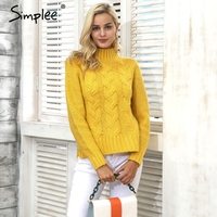 Simplee Knitting Pullover Turtleneck Sweater Women Outerwear Jumper Side Split Sweater Autumn Winter Pull Femme Casual